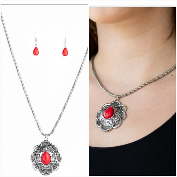MOJAVE MEADOW RED NECKLACE/EARRING SET